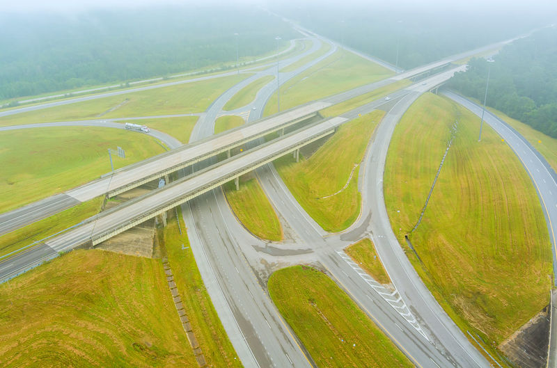 High angle view of highway amidst landscape