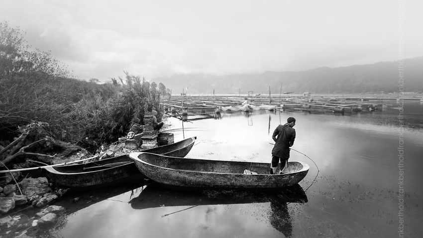 People Frandi Lake Batur Blackandwhite Landscape Black & White Lake Fishermen