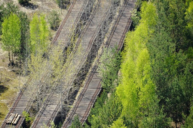 Industrial Photography Looking Down Birds Eye View Aerial Shot Railway Rural Scene Agriculture Field Tree Pattern High Angle View Going Remote