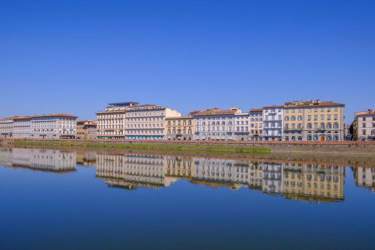 Reflection of buildings in lake against clear blue sky