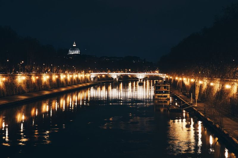 Architecture Astronomy Bridge - Man Made Structure Built Structure Business Finance And Industry City Cityscape Connection Cupola Dome Illuminated Long Exposure Night No People Outdoors Reflection River Roma Rome Scenics Sky Travel Destinations Water