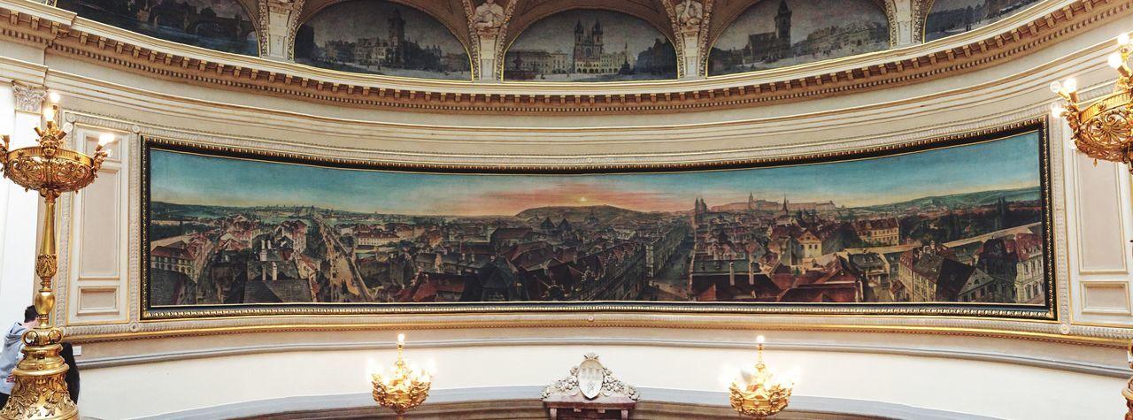 Large Painting in City Museum of Prague // Art Panorama Panoramic Praga Czech Republic Museum Paint
