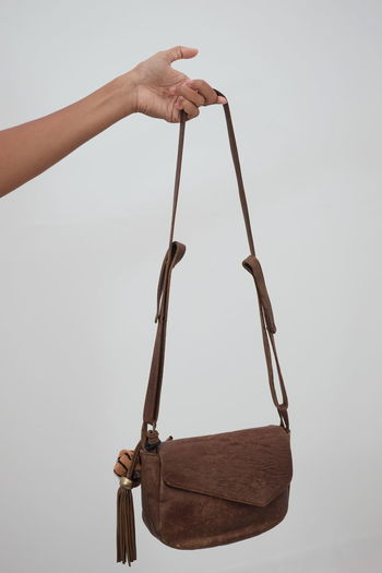 Leather Leather Bag Fashion Human Hand Hanging White Background Close-up