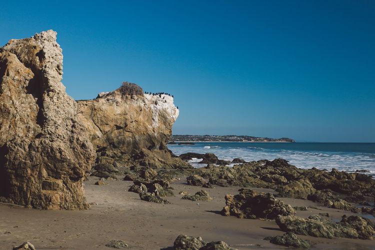 California El Matador Beach Pacific Rock Formation Blue Sky Blue Water Ocean Shore
