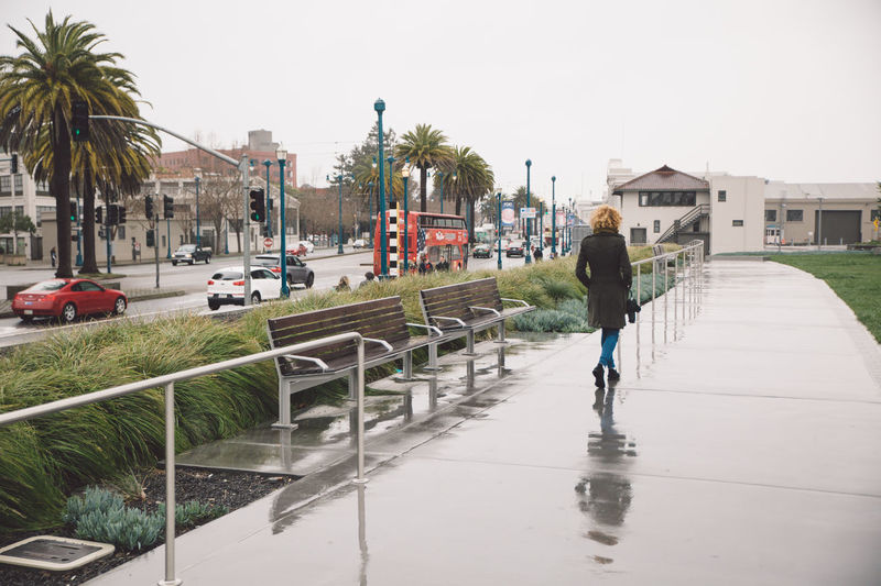 Architecture Building Exterior Built Structure Car City City Cold Curly Hair Day Full Length Land Vehicle Men One Person Outdoors Palm Tree Rainy Rainy Day Real People Rear View Road Spring Street Tree Walking Wet
