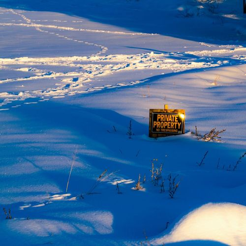 Private Property Sign No Trespassing Private Property Animal Tracks Snow Winter Blue Cold Temperature Landscape Deep Snow Powder Snow Warning