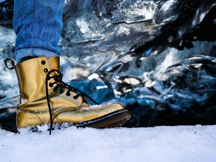 Dr Martens on Ice Gold Ice Winter Nature Glacier Shoes Style Winter Wonderland Wintertime Fashion Doc Martens Dr Martens Enjoying Life Snow Travel Traveling Frozen Cold