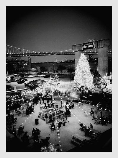 Monochrome Photography Ice Skating Ice Christmas Time Christmas Tree City Life Philadelphia Skyline Walt Whitman River View