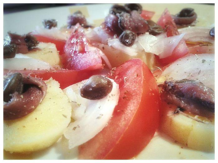 Insalata di Pantelleria. Food And Drink Italian Food Pantelleria Sicily Potatoes Tomatoes Capperi Onions Anchovies Smartphone Photography Mobilephotography S3 Mini Close-up Salad Insalata Di Pantelleria