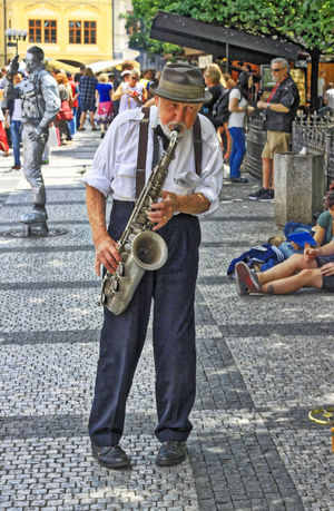 Prague old town, street artists.... Vladimir Pinta playing saxophone.... Czech Republic Jazz Men Music Musician Prague Real People Saxophone Saxophonist Vladimir Pinta The Street Photographer - 2016 EyeEm Awards On The Way Fine Art Photography People And Places