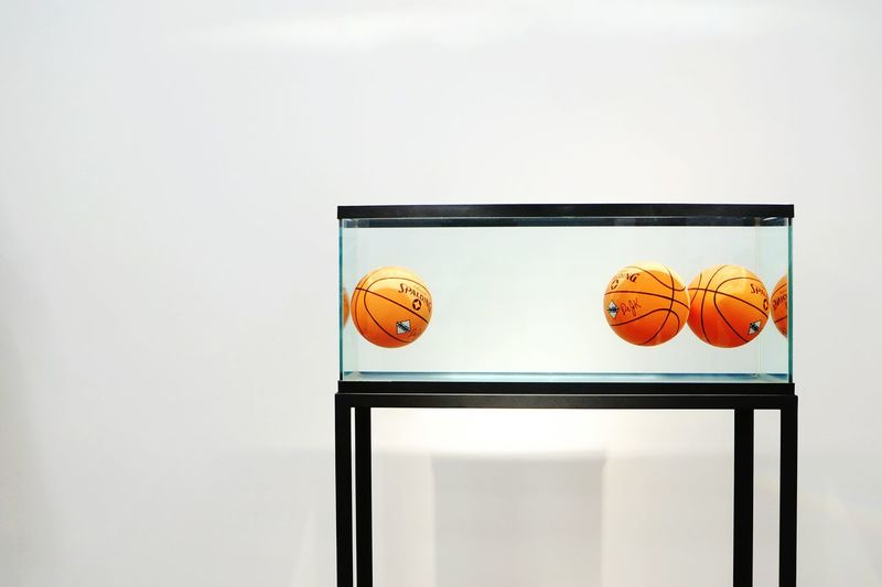 Jeff Koons' Floating Basketballs. Contrast Minimalism Art Modern Art Exhibition Discovering Great Works Getting Inspired My Hobby