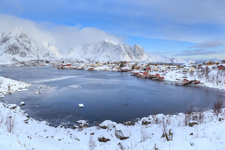 Lofoten Islands at winter Beauty In Nature Cloud - Sky Cold Temperature Day Environment Frozen Ice Mountain Nature No People Non-urban Scene Scenics - Nature Sky Snow Snowcapped Mountain Tranquil Scene Tranquility Water White Color Winter