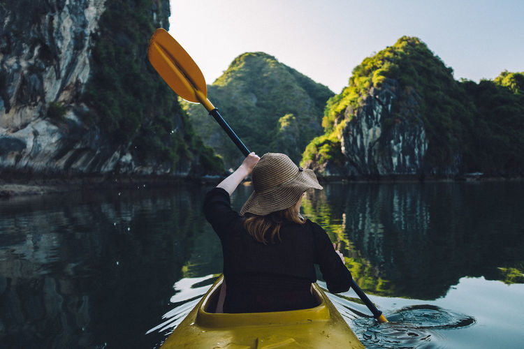 Adult Beauty In Nature Calm Day Halong Bay  Landscape Lifestyles Mountain Nature One Person One Woman Only Outdoors Paddling People Reflection Reflection Sky Sport Tranquil Scene Tranquility Vacations Vietnam Water The Traveler - 2018 EyeEm Awards My Best Travel Photo My Best Photo International Women's Day 2019