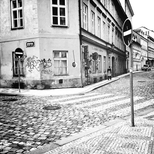 left and right both are forbidden Blackandwhite Prague Streetphotography Signs
