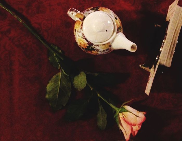 Bar Winter No People Romantic Rose - Flower One Rose Pink Color Red Teapot Relaxing Tea Time Retro Styled Pause Indoors  Perfume Full Frame Flower