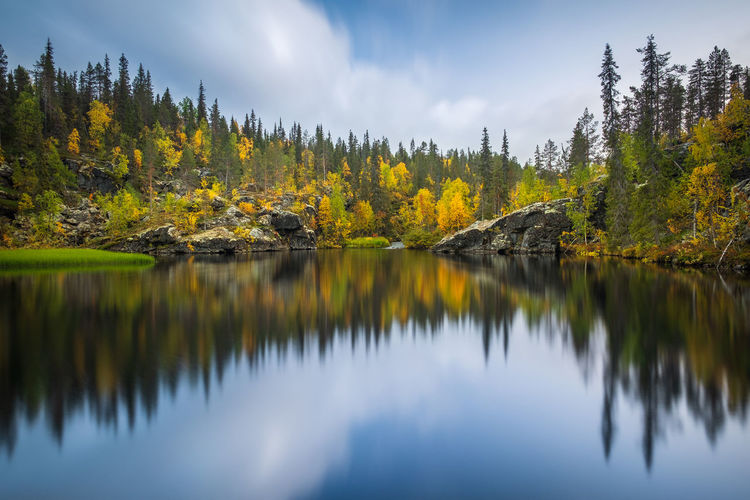Finland Autumn Beauty In Nature Change Cloud - Sky Coniferous Tree Day Forest Idyllic Lake Land Nature No People Outdoors Pine Tree Plant Reflection Reflection Lake Scenics - Nature Sky Tranquil Scene Tranquility Travel Destinations Tree Water