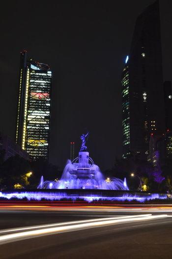 Cdmx City Diana Cazadora Illuminated Larga Exposicion Large Exposure Light Light Trail Mexico Mexico City Monument Monumento Night Skyscraper