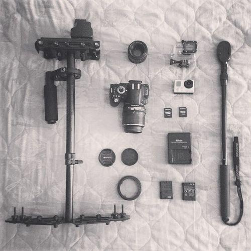 Getting ready to shoot. Glidecam Nikon Gopro Hero3 goscope 50mm polarizer