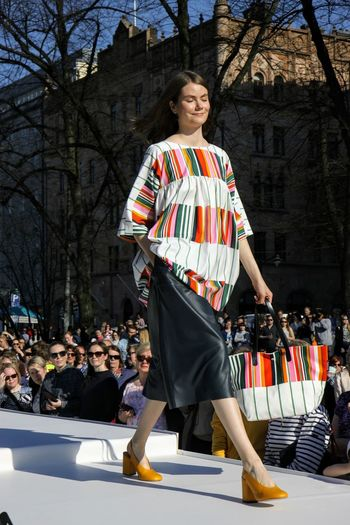 Runway Fashion Model Marimekko Fashion Stories Arts Culture And Entertainment One Woman Only Full Length Outdoors Smiling Portrait