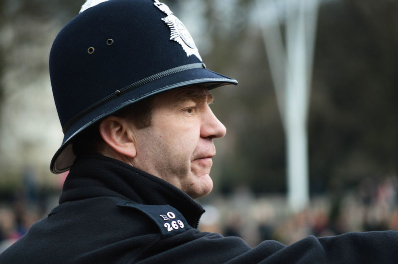 Close-up of police man