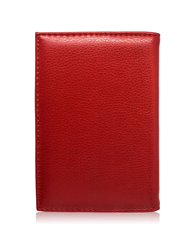 Red wallet isolated on white background. Template of leather purse for your design. Business Clipping CutOut Isolated Leather Bag Blank Book Card Clipping Path Copy Space Credit Cut Out Holder Holders Leather Maroon Pocket  Purse Red Single Object Studio Shot Textured  Ticket White Background