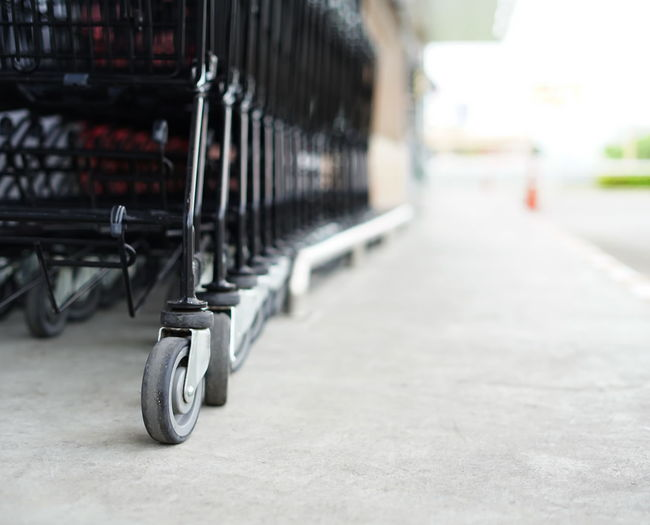 Low angle view of shopping carts outdoors