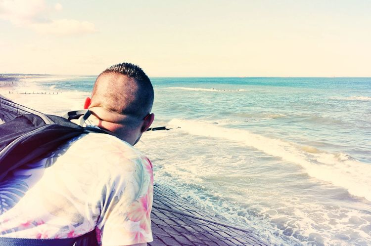 EyeEm Selects Sea One Man Only One Person Horizon Over Water Outdoors Summer Day Horizon Horizon Over Sea Contemplating Beauty Endless Endless Sky Endless Sea Endless Perspectives