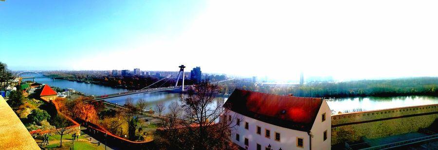 Slowakia Bratislava City Water Cityscape Sky Architecture Built Structure Panoramic