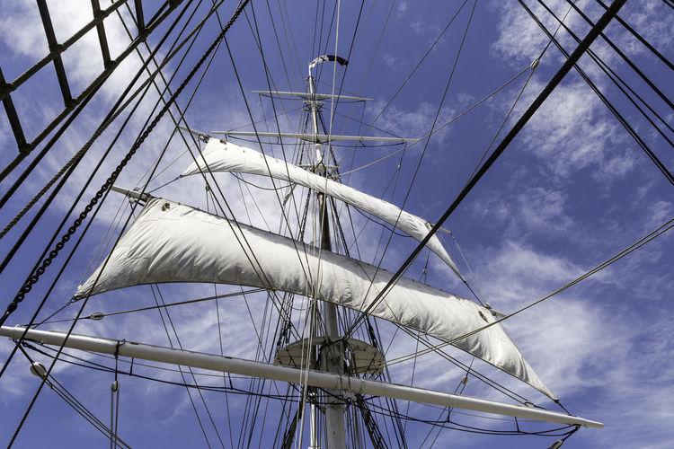Morgan's Sails Charles W. Morgan Tall Ship Whalers Historic Historic Vessel Nautical Nautical Vessel Sails Ship Sky Square Rigged Square Rigger Square Sails Under Sail Whaler's