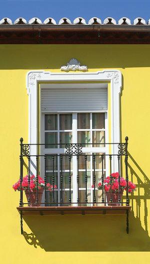 Spanish window 1. Window Spanish Window Window With Flowers Blue Sky Andalucia Spain Colorful Yellow House Blue Sky Pink Flowers Colours Of Spain Spanish Architecture Spanish Window Villanueva De La Concepcion EyeEm Masterclass Colour Of Life Awehaven's Andalucia