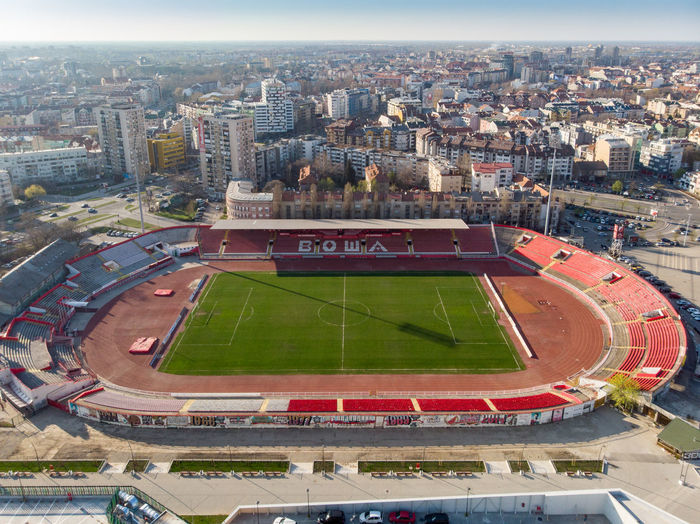 Building Exterior Sport Architecture Built Structure City Stadium High Angle View Soccer Nature Playing Field Day Building Competition Team Sport Sky Cityscape Soccer Field No People Outdoors Aerial View Vojvof Karadjordje Fcvojvodina