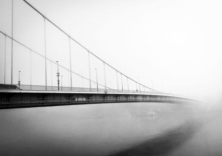 Black And White Blackandwhite Bridge Bridge In Fogg Bridge On Danube Budapest Danube Fog Hungary