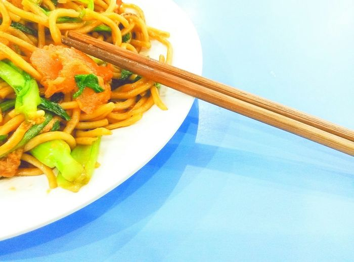 PhonePhotography Chinese Food Chopsticks Plates Noodles Plates On A Table Table Blue Table Blue Delicious Tasty