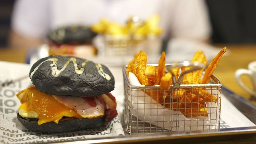 Burger and fries Burger Time Burgers Burger Food Food And Drink Focus On Foreground Freshness Ready-to-eat Indoors  No People Close-up Unhealthy Eating Sweet Food Baked Snack Fried Wellbeing Temptation Table Retail  Business Still Life Sweet