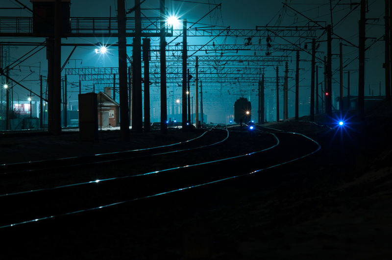 Railway at night with blue light