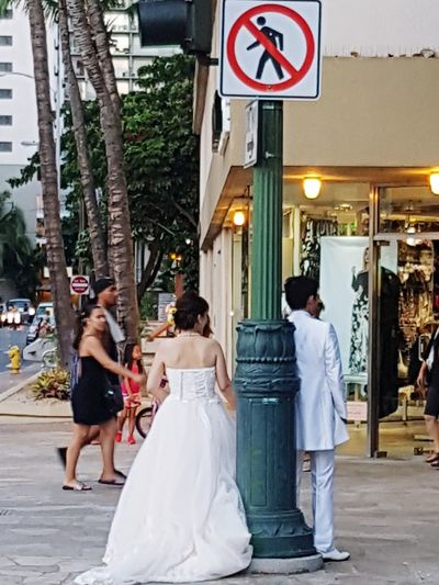 Not allowed walk away... Wedding Bride City Love Life Events Togetherness Bridegroom People Street Wedding Dress The Week On EyeEm Walking On The Street Life In Motion Signs Everywhere Curiosities The Perfect Moment Society Seen On My Walk