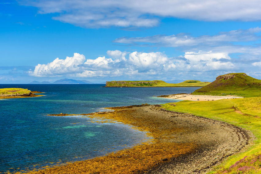 Coral Beach, Isle Of Skye Beach Beauty In Nature Blue Cloud - Sky Day Grass Horizon Over Water Landscape Mountain Nature No People Outdoors Scenics Sea Sky Tranquil Scene Tranquility Water