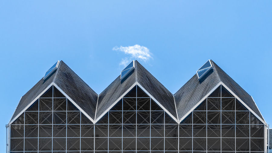 Three in a Row Architecture Blue Building Exterior Built Structure Day Low Angle View No People Outdoors Pyramid Sky Triangle Shape
