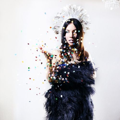 My beloved confetti Fashion Portrait Of A Woman Minimalism RePicture Style Capture The Moment People Watching Portrait Crazy Moments Having Fun Confetti