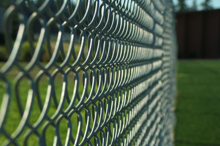 Architecture Barrier Boundary Chainlink Fence Close-up Day Fence Focus On Foreground Grass Green Color Metal Nature No People Outdoors Pattern Plant Protection Safety Security Selective Focus