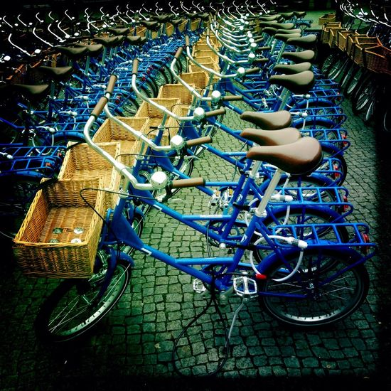 Bikes Mobility Serial Street Life Streetphotography On Your Bike Repetition Symmetrical Blue Pattern Pieces Everything In Its Place Organized Things Organized Neatly My Commute