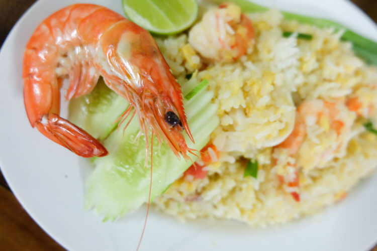 Thai fried rice with prawns Cooking Lunch Rice View Dinner Egg Food Food And Drink Gourmet Healthy Eating Kitchen Meal Onion Plate Prawn Ready-to-eat Recipe Rice - Food Staple Savory Food Seafood Shrimp - Seafood Simple Tasty Vegetable Wood - Material