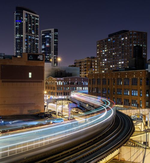 High Angle View Of Train Light Trails