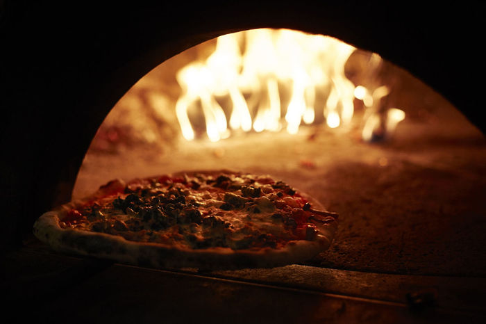 Flames Open Fire Oven Pizza Oven Preparation  Real Pizza Traditional