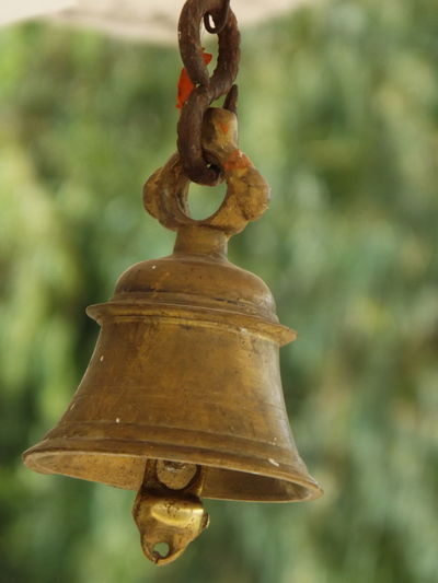 Metal Focus On Foreground Rusty Gold Colored Outdoors No People Close-up Day Tample Trample Bell Religious  Indian Culture  Hindu Temple
