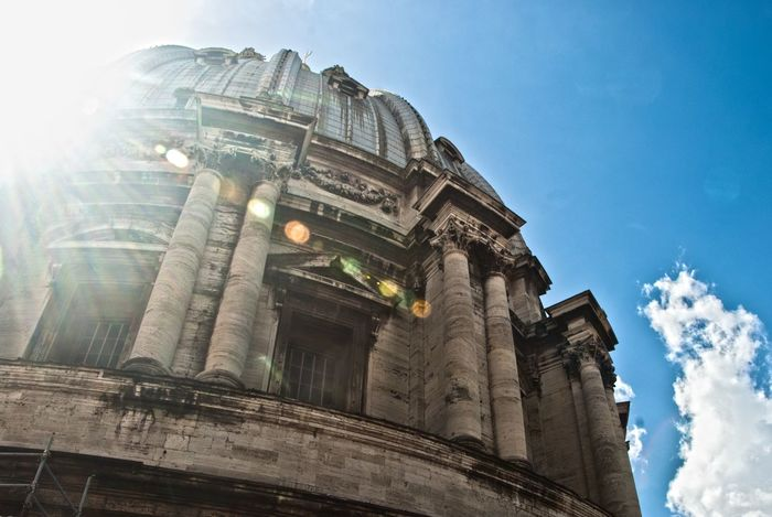 Italy Rome Sky Day Built Structure Architecture Building Exterior Travel Spirituality Place Of Worship High Angle View History Dome St Peters Basilica Michaelangelo Sunrays