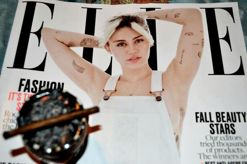 Miley, Miley, Miley. Front View Casual Clothing Headshot Text Elle Magazine Mileycyrus