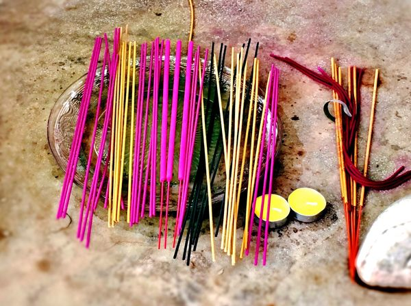Candle Insence Stick Smoke Wishes Buddhism Close-up Day High Angle View Incense Indoors  Large Group Of Objects Multi Colored No People Pink Color Sacrifice Variation