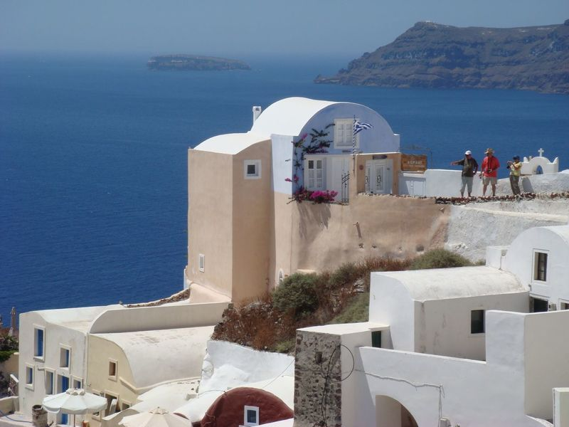 Santorini Island Santorini Greece Sea Built Structure Architecture Building Exterior Water Whitewashed Outdoors High Angle View Day Travel Destinations Sky Clear Sky
