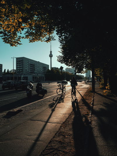 Rear view of silhouette man riding bicycle on street in city